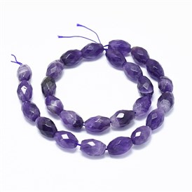 Natural Amethyst Beads Strands, Faceted, Oval