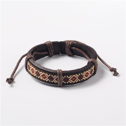 Adjustable Unisex Cowhide Cord Bracelets, with Flower Pattern Cloth Cord, 57mm-1