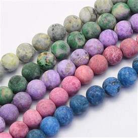 Natural Crazy Agate Beads Strands, Round, Dyed & Heated, Frosted
