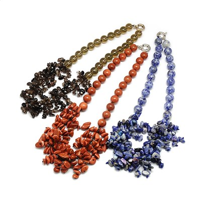 "Gemstone Beaded Bib Necklaces, with Spring Ring Clasps, 21""-1"