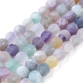 Natural Fluorite Beads Strands, Frosted, Round