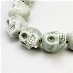 Gray Handmade Porcelain Beads Strands, Bright Glazed Style, Skull, Halloween, Gray, about 15mm wide, 18mm long, 18mm thick, Hole: 1.5mm