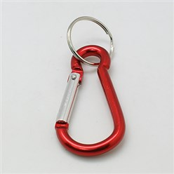 Red Aluminum Oval Carabiner Keychain, with Iron Clasps, Red, 60.5x29mm