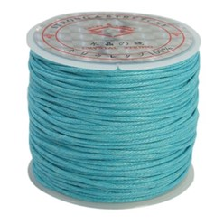 DeepSkyBlue Cotton Waxed Cord, DeepSkyBlue, 1mm; about 25m/roll