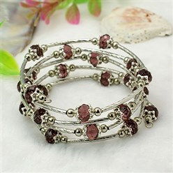 Purple Fashion Wrap Bracelets, with Rondelle Glass Beads, Tibetan Style Bead Caps, Brass Tube Beads and Steel Memory Wire, Purple, Inner Diameter: 55mm
