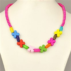 Fuchsia Colorful Wood Necklaces for Kids, Children's Day Gifts, Stretchy, Fuchsia, 18 inches