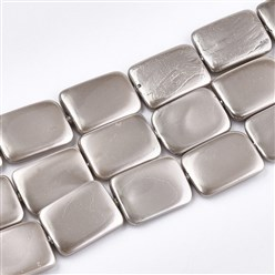 Camel Shell Pearl Beads Strands, Dyed, Rectangle, Silver, 20~21x15x2.5~4mm, Hole: 1mm; about 20pcs/strand, 16.1""