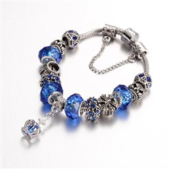 Blue Alloy Rhinestone Bead European Bracelets, with Glass Beads and Brass Chain, Blue, 190mm