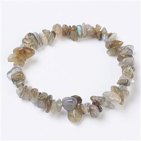 Natural/Synthetic Gemstone Stretch Bracelets, Nuggets