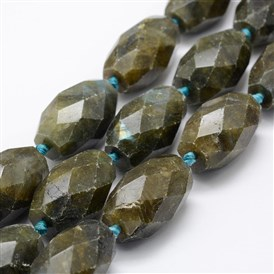 Natural Labradorite Beads Strands, Oval, Faceted