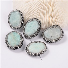 Oval Natural Faceted Amazonite Beads, with Polymer Clay Rhinestones, 25~27x21~22x7~8mm, Hole: 1mm