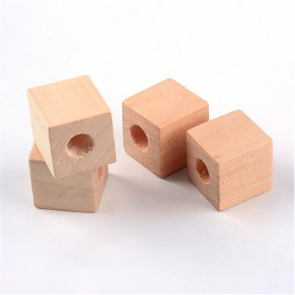 Wood Beads, Lead Free, Cube, Large Hole Beads, 19~20x19~20x20mm, Hole: 8~8.5mm-1