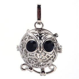 Rack Plating Brass Cage Pendants, For Chime Ball Pendant Necklaces Making, with Rhinestone, Owl