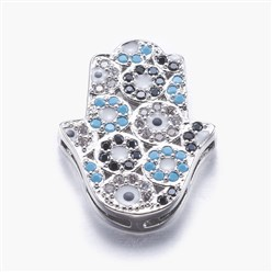 Real Platinum Plated Long-Lasting Plated Brass Micro Pave Cubic Zirconia Pendants, Multi-strand Links, Real Platinum Plated, Hamsa Hand/Hand of Fatima/Hand of Miriam, Colorful, Colorful, 23x17x3.5mm, Hole: 1x3~6mm