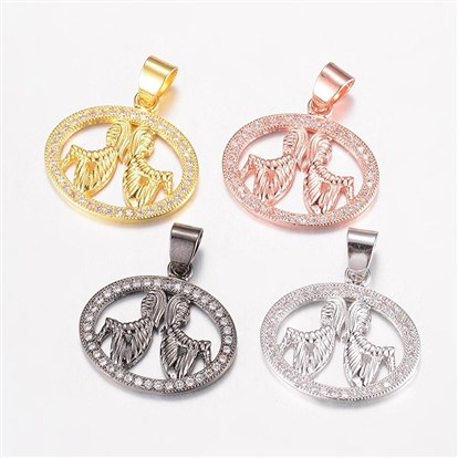 Brass Micro Pave Cubic Zirconia Pendants, Oval with Human-1