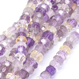 Natural Ametrine Beads Strands, Faceted, Rondelle