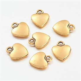 Tibetan Style Alloy Charms, Lead Free and Cadmium Free, Heart, 12mm long, 10mm wide, 2.5mm thick, hole: 2mm