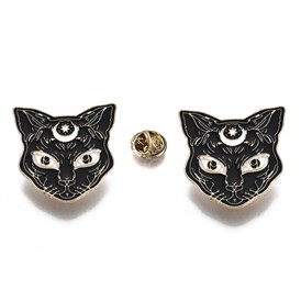 Alloy Brooches, with Enamel and Brass Butterfly Clutches, Cat Shape, Light Gold
