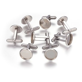 304 Stainless Steel Cuff Settings, Cufflink Finding Cabochon Settings for Apparel Accessorie, Flat Round