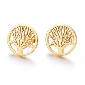 304 Stainless Steel Stud Earrings, Flat Round with Tree of Life