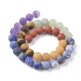 Natural Red Rainbow Jasper & Yellow Aventurine & Tiger Eye & Green Aventurine & Blue Spot Stone & Lapis Lazuli & Amethyst Beads Strands, Frosted, Round, Chakra