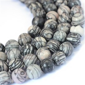 Natural Black Silk Stone/Netstone Round Bead Strands
