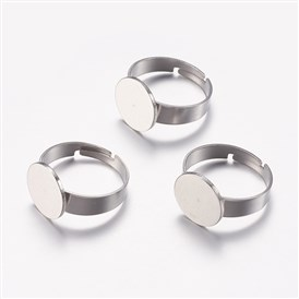 Adjustable 304 Stainless Steel Finger Rings Components, Pad Ring Base Findings, Flat Round