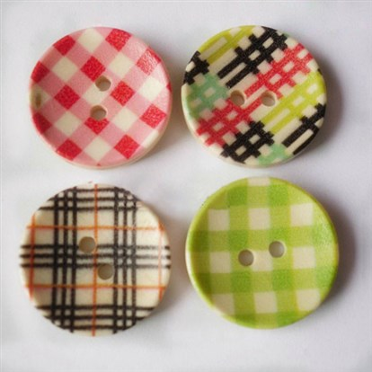 Round Striped Buttons, Wooden Buttons-1