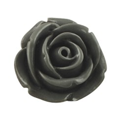 Gray Resin Cabochon, Flower, Gray, 15x6mm