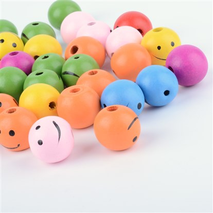 Mixed Color Wooden Beads, Smiling Face Beads, Round, Nice for Children's Day Gift Making, Lead Free-1