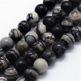 Natural Black Silk Stone/Netstone Beads Strands, Round