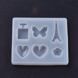 Silicone Moulds, Resin Casting Molds, For UV Resin, Epoxy Resin Jewelry Making, Heart & Flower & Butterfly & Tower & Bottle
