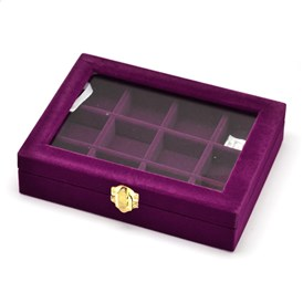Wooden Rectangle Jewelry Boxes, Covered with Velvet, with Glass and Iron Clasps, 12 Compertments, 20.2x15.3x4.8cm