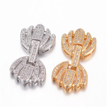 Brass Micro Pave Cubic Zirconia Watch Band Clasps, Flower-1