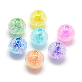 Crackle Style Acrylic Beads, AB Colour, Inside Color, Round
