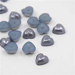 SlateGray Acrylic Imitation Pearl Cabochons, Dyed, Heart, SlateGray, 10.5x10.5x5mm; about 1500pcs/bag