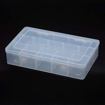 Polypropylene Plastic Bead Storage Containers, Removable, 15 Compartments, Rectangle-1