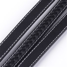 Flat Microfiber PU Leather Cord, Double Stitched