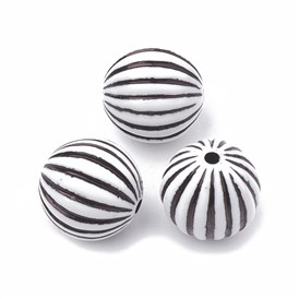 Craft Style Acrylic Corrugated Beads, Round