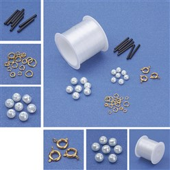 Mixed Material DIY Necklace Kits, Pearl Bead Necklace with Bugle Beads, Choker Necklaces, 9mm