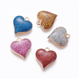 Alloy Enamel Pendants, Heart, Light Gold