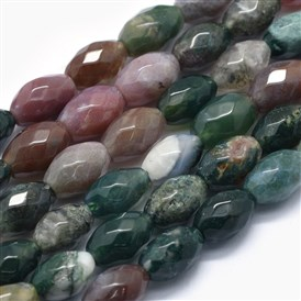 Natural Indian Agate Beads Strands, Rice, Faceted