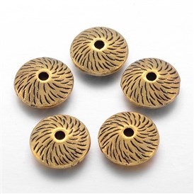Tibetan Style Alloy Flat Round Beads, Lead Free, 12x4.5mm, Hole: 2mm; about 580pcs/1000g