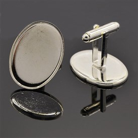 Apparel Accessories Brass Cuff Buttons Cufflinks Cabochon Settings, Oval Tray: 25x18mm; 25mm