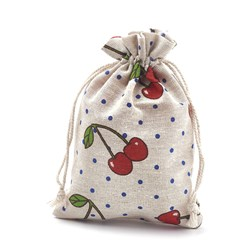 Colorful Polycotton(Polyester Cotton) Packing Pouches Drawstring Bags, with Printed Cherry, Colorful, 18x13cm