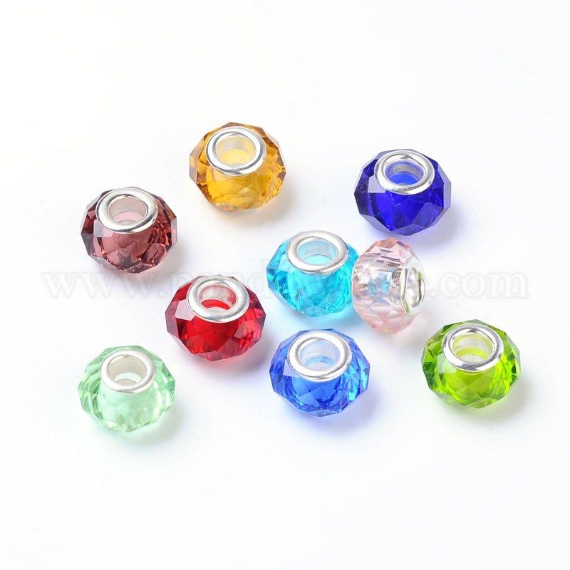 100PCS Handmade Glass European Beads Large Hole Bead Clear 14x8mm Hole 5mm