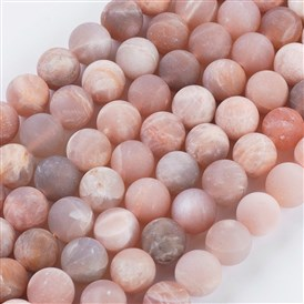 Frosted Round Natural Sunstone Bead Strands