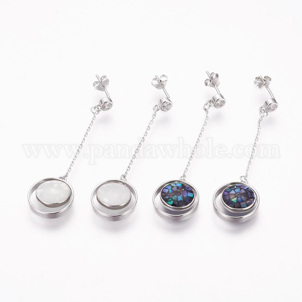 Wholesale 925 Sterling Silver Ear Studs Micro Pave Cubic