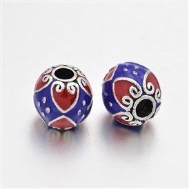 Antique Silver Plated Alloy Enamel Round Beads