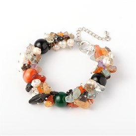 Natural Gemstone Chips Bracelets, with Pearl Beads, Alloy Lobster Claw Clasps and Iron End Chains, 190x14mm